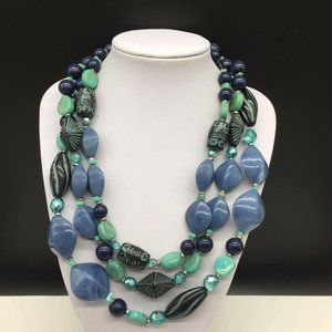 Chico's Chunky Beaded Turquoise Acrylic Necklace